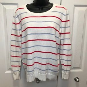 Gap White Blue Red Striped Knit Crew Neck Sweater